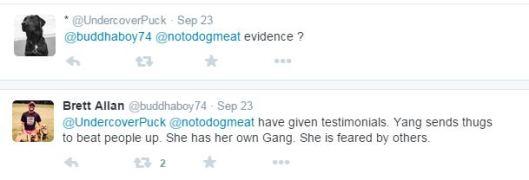 Mrs Yang has a 'gang of thugs'?