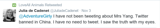 Julia de Cadenet Admitting Mrs Yang powerless to refute allegations made on Twitter 3Nov2015